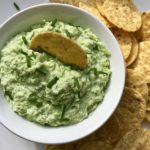 Edamame Bean Gorgonzola dip is sort-of like hummus, but made of Edamame beans.  The edamame beans have a mild, slightly nutty flavor that really takes on the more sharp and salty flavors from the gorgonzola.  The texture is perfect with the edamame providing the more hearty and textured bite and the gorgonzola bringing the creamy feel.