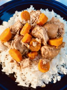 5-Ingredient Slow Cooker Pork Stew is easy and flavorful! Served over Rice, it's a perfect family dinner.