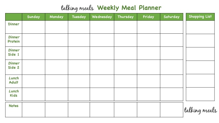 weekly meal plans talking meals