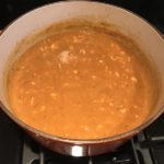 Creamy Tomato Soup with Ground Chicken in pot. It is creamy and chunky and has a ton of deep flavor. AND it is healthy! It uses all white meat ground chicken that you cook until it is incredibly browned for some serious flavor. Then tomato paste adds the flavor back drop for the soup and a flour roux plus broth creates the amazing creaminess! Finally Spinach is your veggie boost.