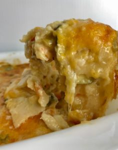 White Enchilada Casserole with Chicken & Veggies is hearty, cheesy, delicious, & easy because everything is layered in one dish. It has everything you love in a White Enchilada Casserole with the bonus of hidden vegetables with extra vitamins and antioxidants! Even picky eaters will not know they are eating veggies!