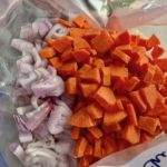 Diced Shallots and Carrots added to freezer bag for Moroccan Chicken Chili with Chickpeas is loaded with comforting and healthy ingredients and spices. You get warmth from Ginger, Turmeric, Garlic, and Coriander. Then tons of hearty flavor from browned ground chicken and Shallots. And creaminess from the Carrots and Chickpeas. You can make it ahead and freeze it until you are ready to cook it!