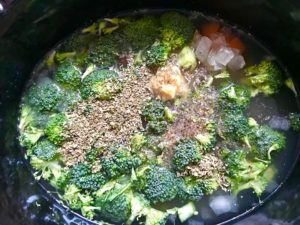 Oregano, salt, and pepper added to broccoli florets, diced carrot, and onion with broth in crockpot for a Light Slow Cooker Creamy Broccoli Soup. This is easy, comforting, and delicious! With Carrots, Broccoli, Onion, Garlic, and Oregano, this is one flavorful soup. And, there is no heavy cream, just milk and a little half and half mixed with cornstarch, so it's healthy and gluten free!