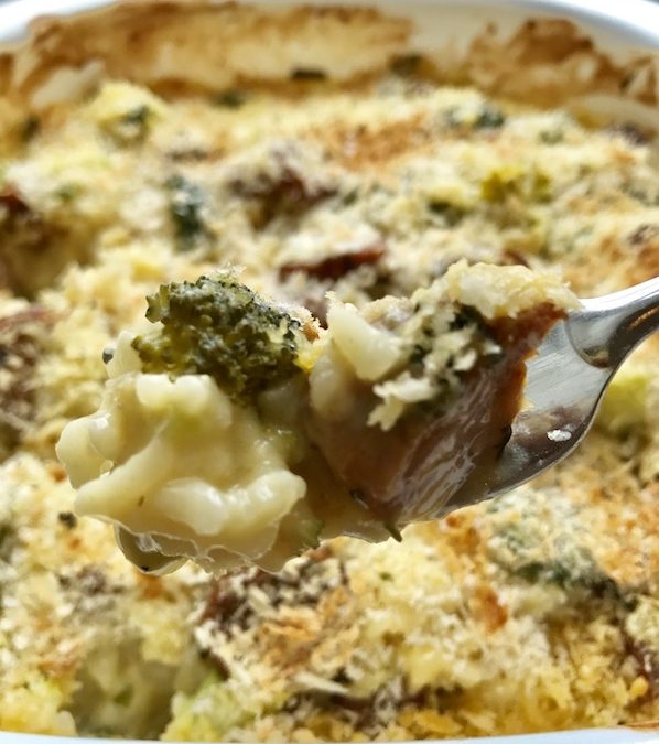 Cheesy Sausage and Broccoli Casserole fork CU vert copy