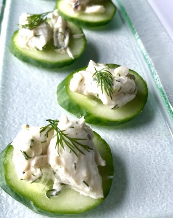 Lump Crab Meat Salad Canapes - front CU vertical Better copy